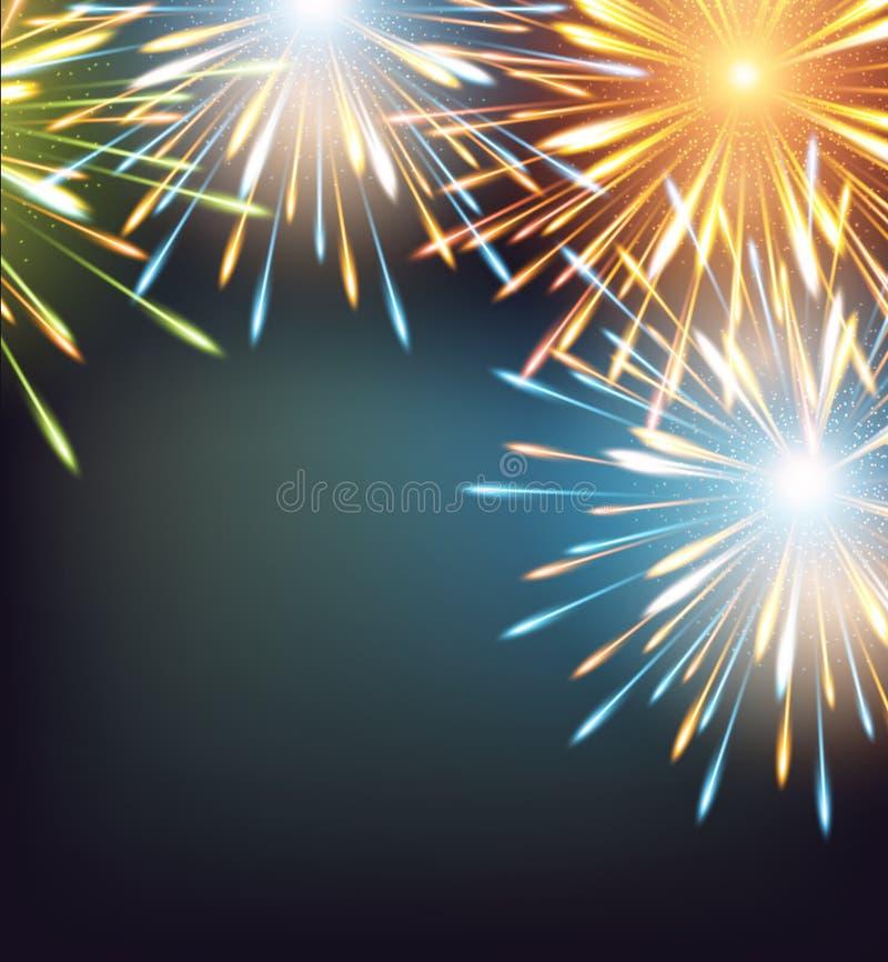 Χρώματα πλαισίων εκρήξεων πυροτεχνημάτων σε μια ευχετήρια κάρτα στο κενό καλής χρονιάς απεικόνιση αποθεμάτων