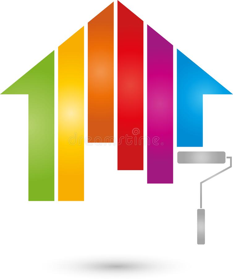Χρώματα σπιτιών και ουράνιων τόξων, έγχρωμα, ζωγράφος και λογότυπο εκτύπωσης ελεύθερη απεικόνιση δικαιώματος