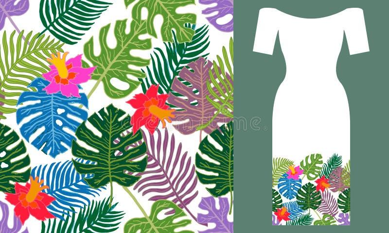 χρώματα τροπικά Σχέδιο φορεμάτων κόμματος ελεύθερη απεικόνιση δικαιώματος