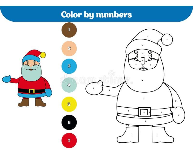 Χρώμα από τον αριθμό, παιχνίδι εκπαίδευσης για τα παιδιά Χρωματίζοντας σελίδα, που σύρει τη δραστηριότητα παιδιών Χριστούγεννα Χρ διανυσματική απεικόνιση