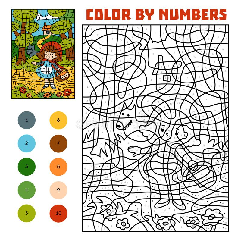 Χρώμα από τον αριθμό Παραμύθια Οδηγώντας κουκούλα Little Red και μεγάλος κακός λύκος διανυσματική απεικόνιση