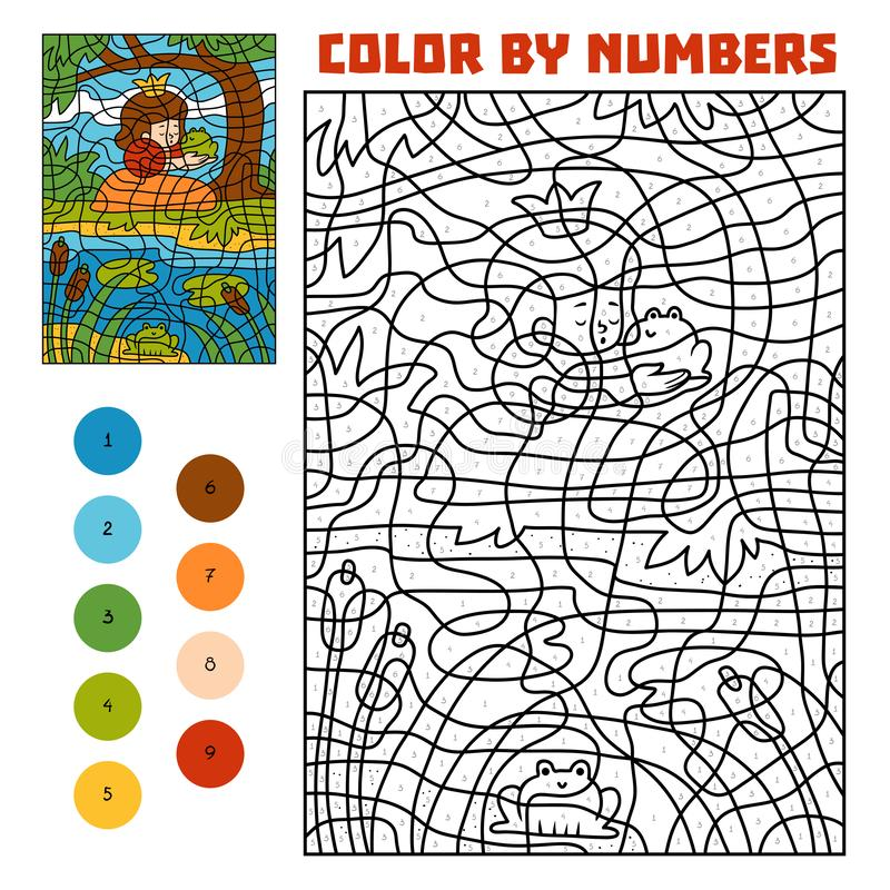 Χρώμα από τον αριθμό Παραμύθια Πρίγκηπας και πριγκήπισσα βατράχων διανυσματική απεικόνιση