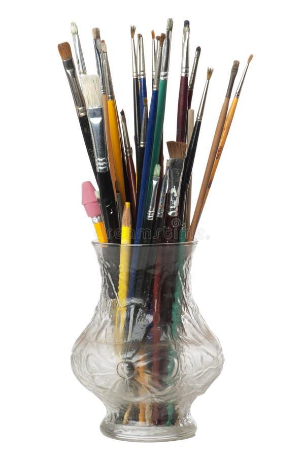 χρώμα βουρτσών καλλιτεχνών στοκ φωτογραφίες