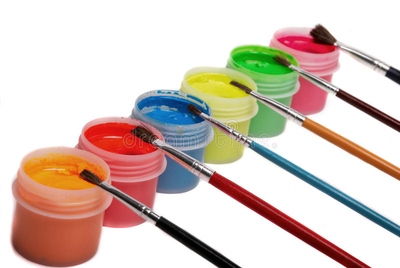 χρώμα βουρτσών μπουκαλιών στοκ φωτογραφία με δικαίωμα ελεύθερης χρήσης