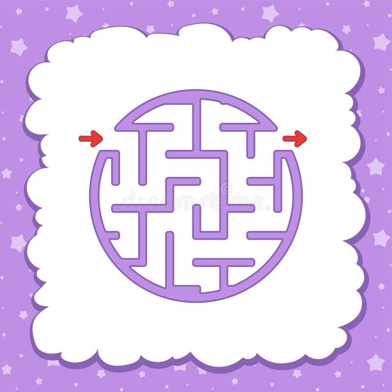 Χρώμα γύρω από τον απλό λαβύρινθο Φύλλα εργασίας παιδιών Σελίδα δραστηριότητας Γρίφος παιχνιδιών για τα παιδιά Αίνιγμα λαβυρίνθου ελεύθερη απεικόνιση δικαιώματος