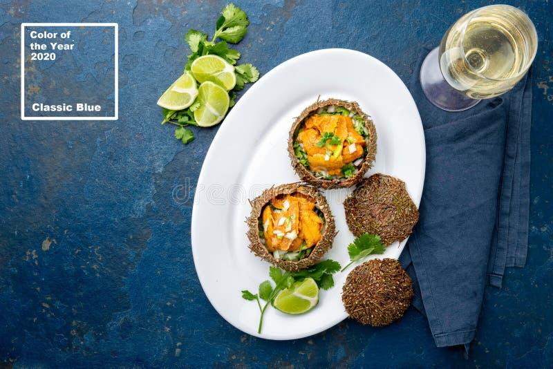 Χρώμα 2020 ετών Κλασικό μπλε Φόντο μόδα θαλασσινών Sea Urchins caviar με το όστρακό τους, με κρεμμύδι και cilantro Επάνω στοκ φωτογραφία με δικαίωμα ελεύθερης χρήσης