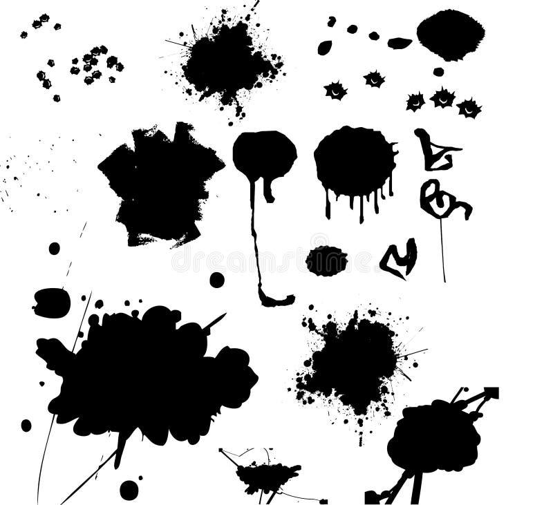 χρώμα μελανιού γκράφιτι splats διανυσματική απεικόνιση