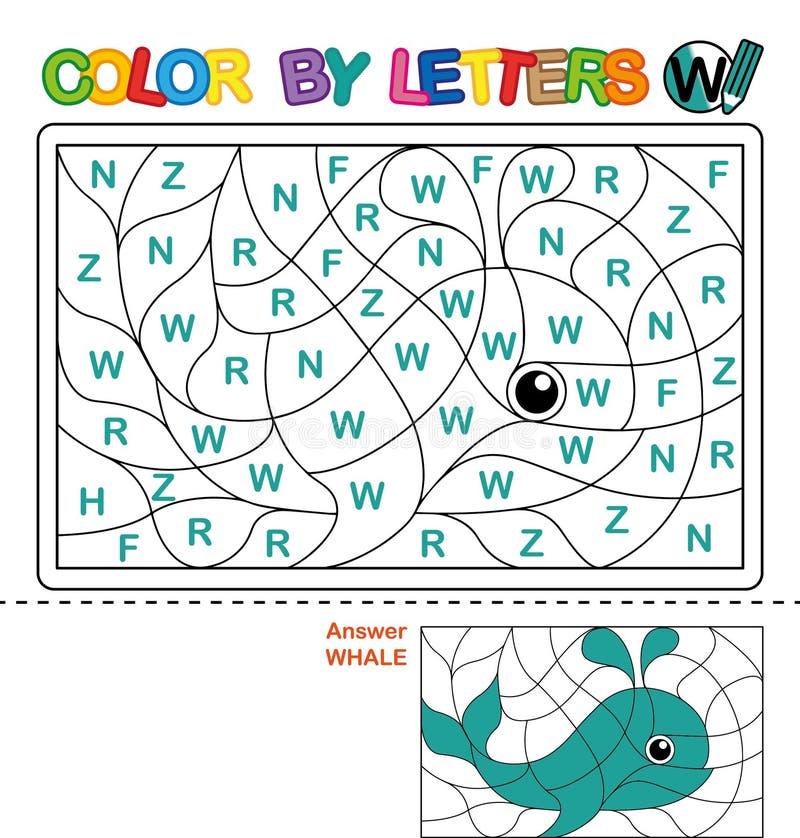 Χρώμα με επιστολή Γρίφος για τα παιδιά Φάλαινα απεικόνιση αποθεμάτων