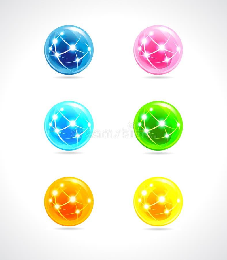 Χρώμα λογότυπων σφαιρών διανυσματική απεικόνιση