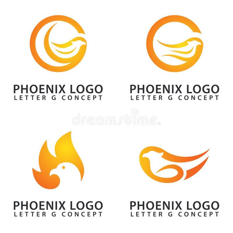 Χρώμα πυρκαγιάς έννοιας γραμμάτων Γ γερακιών/λογότυπων του Phoenix ελεύθερη απεικόνιση δικαιώματος