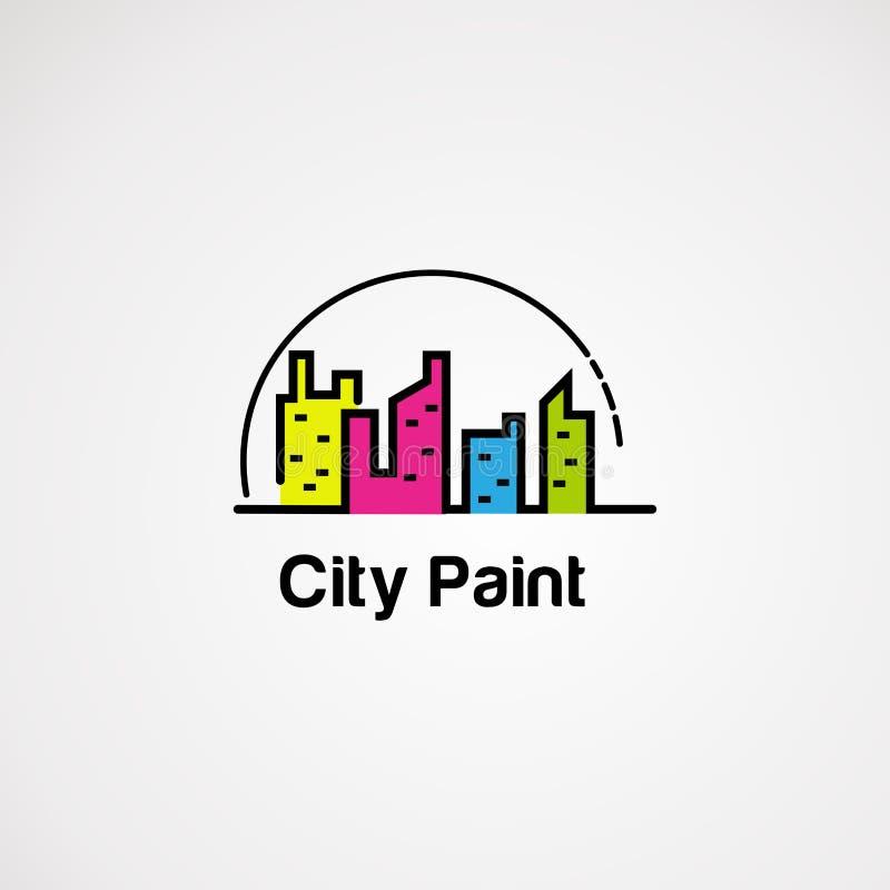 Χρώμα πόλεων με το διάνυσμα, το εικονίδιο, το στοιχείο, και το πρότυπο λογότυπων σημείων κύκλων για την επιχείρηση διανυσματική απεικόνιση