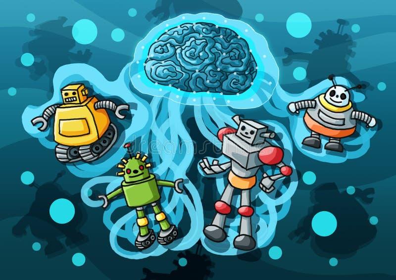 Χρώμα ρομπότ τεχνητής νοημοσύνης απεικόνιση αποθεμάτων