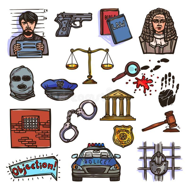 Χρώμα σκίτσων εικονιδίων νόμου διανυσματική απεικόνιση