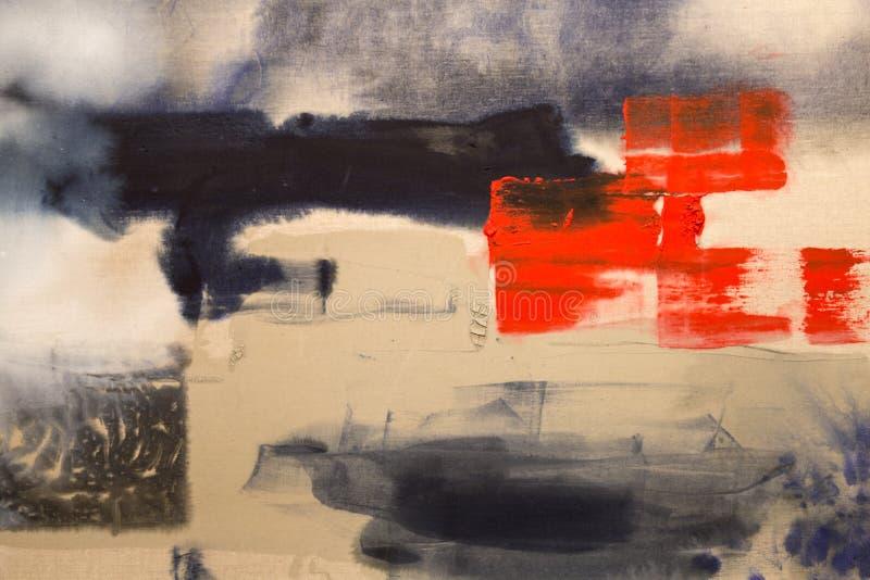Χρώμα στον καμβά: Αφηρημένη τέχνη με τα κόκκινα, μπλε και άσπρα χρώματα - υπόβαθρο απεικόνιση αποθεμάτων
