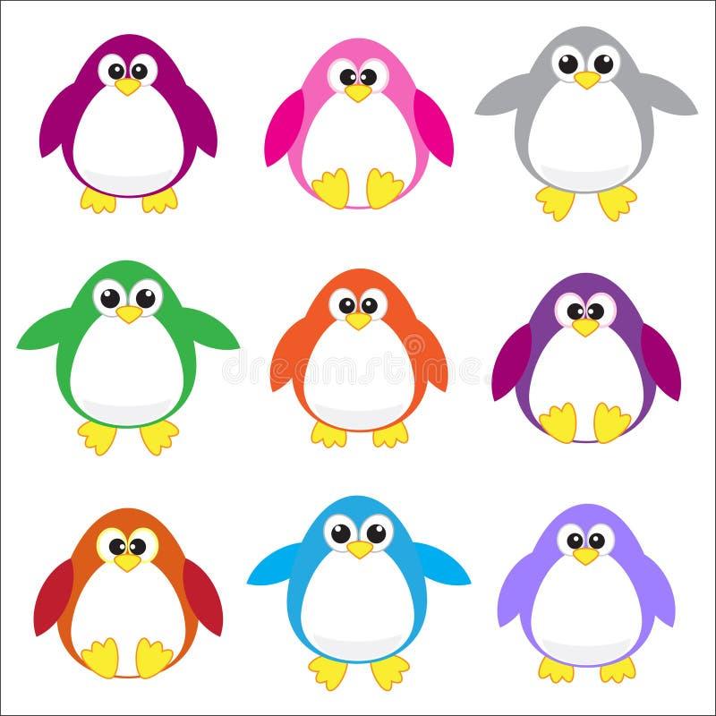 χρώμα συνδετήρων τέχνης penguins απεικόνιση αποθεμάτων