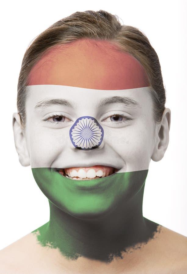 χρώμα της Ινδίας σημαιών προσώπου στοκ εικόνες