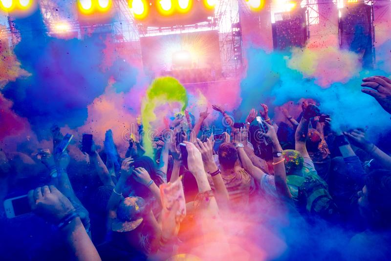 Χρώμα της Μολδαβίας Chisinau Δαρβίνος εορτασμού Holi στις 9 Σεπτεμβρίου 2017 στοκ φωτογραφία