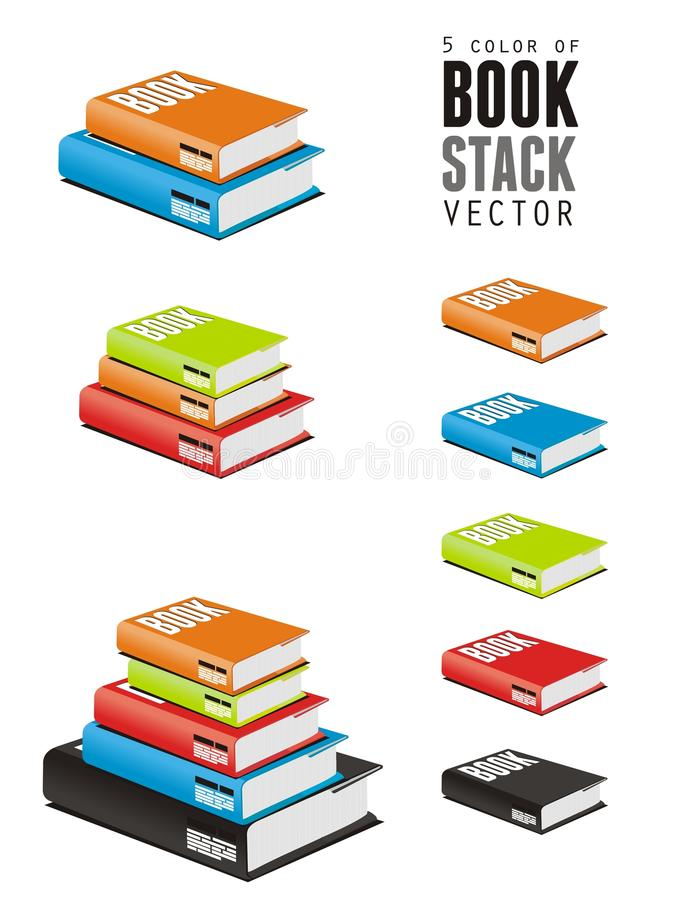 χρώμα 5 του διανυσματικού σωρού βιβλίων απεικόνιση αποθεμάτων