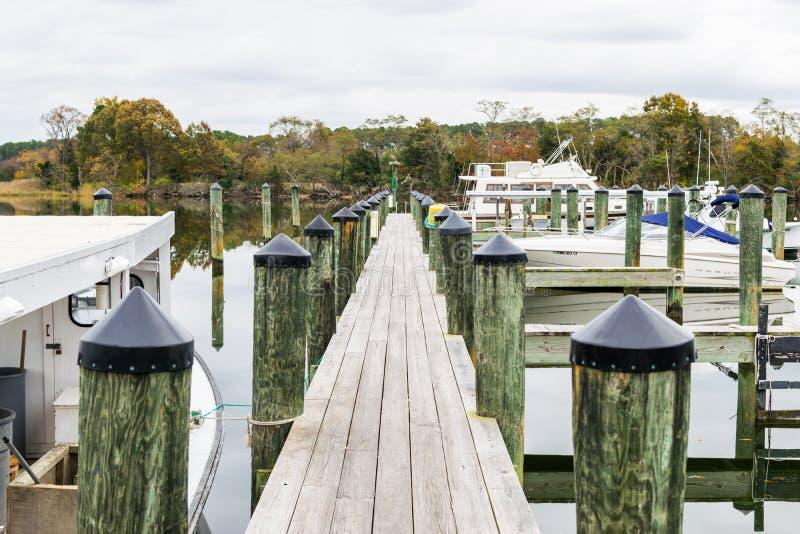 Χρώμα φθινοπώρου η ακτή και το λιμάνι κόλπων Chesapeake στο ST Michaels στοκ φωτογραφία