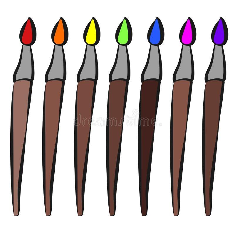 Χρώμα brushs, εικονίδιο, ύφος σχεδίων παιδιών ` s απεικόνιση αποθεμάτων