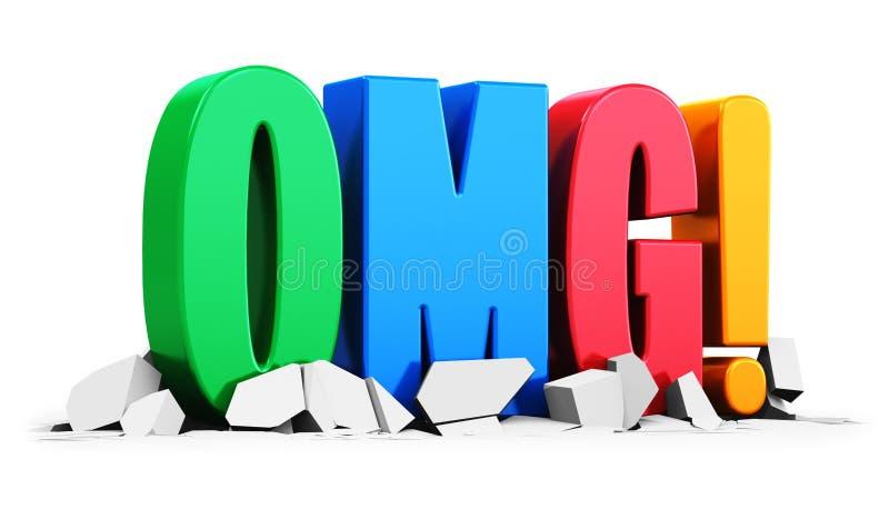 Χρώμα OMG! κείμενο στην άσπρη ραγισμένη επιφάνεια ελεύθερη απεικόνιση δικαιώματος