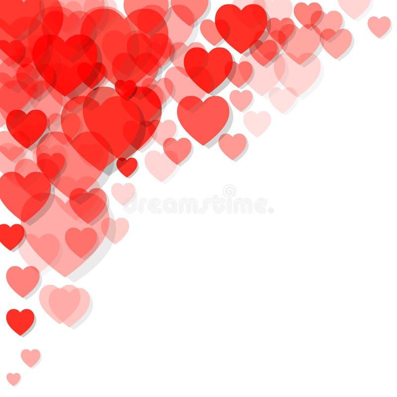 Χρώμα Pantone κοραλλιών διαβίωσης καρτών ημέρας του ευτυχούς βαλεντίνου του έτους 2019 καρδιές στη γωνία σε ένα άσπρο υπόβαθρο απεικόνιση αποθεμάτων