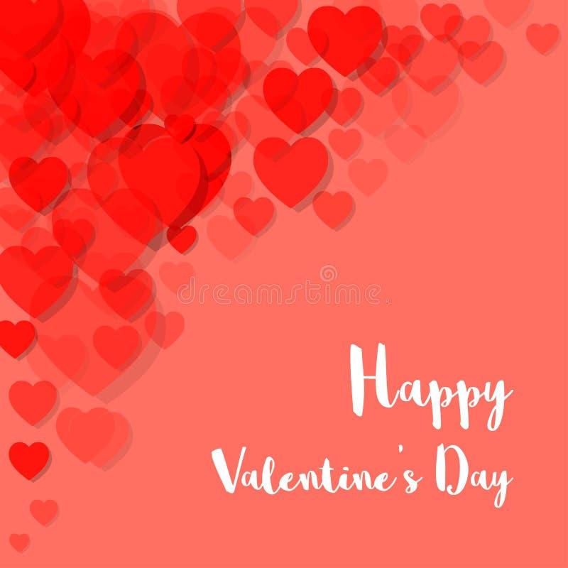 Χρώμα Pantone κοραλλιών διαβίωσης καρτών ημέρας του ευτυχούς βαλεντίνου του έτους 2019 καρδιές στη γωνία ελεύθερη απεικόνιση δικαιώματος
