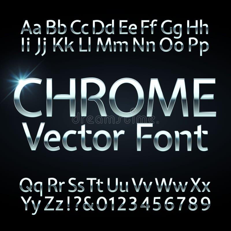 Χρώμιο, χάλυβας ή ασημένιες επιστολές και διανυσματικό αλφάβητο αριθμών Μεταλλικός χαρακτήρας, πηγή ελεύθερη απεικόνιση δικαιώματος