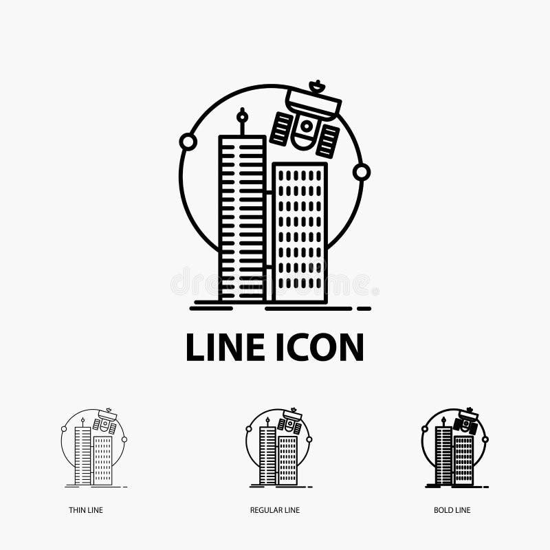 χτίζοντας, έξυπνη πόλη, τεχνολογία, δορυφόρος, εικονίδιο εταιριών στο λεπτό, κανονικό και τολμηρό ύφος γραμμών r ελεύθερη απεικόνιση δικαιώματος