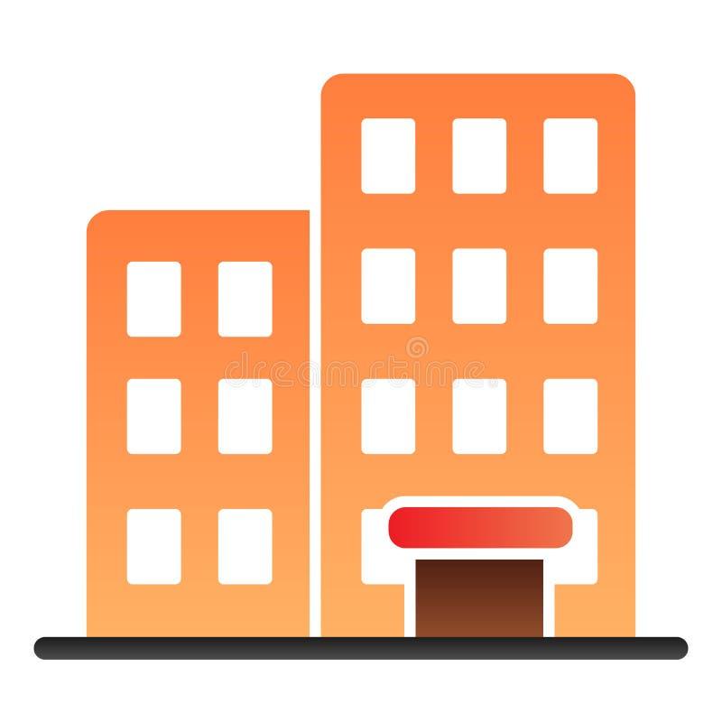 Χτίζοντας επίπεδο εικονίδιο Εικονίδια χρώματος σπιτιών στο καθιερώνον τη μόδα επίπεδο ύφος Σχέδιο ύφους κλίσης αρχιτεκτονικής, πο διανυσματική απεικόνιση