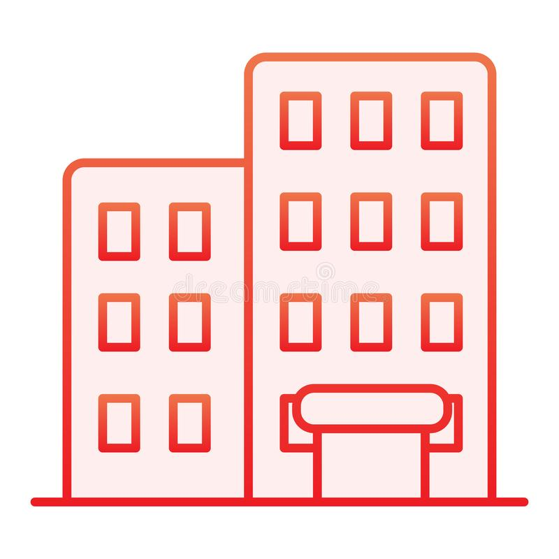 Χτίζοντας επίπεδο εικονίδιο Κόκκινα εικονίδια σπιτιών στο καθιερώνον τη μόδα επίπεδο ύφος Σχέδιο ύφους κλίσης αρχιτεκτονικής, που απεικόνιση αποθεμάτων