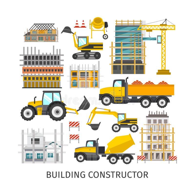 Χτίζοντας επίπεδος κατασκευαστής στοιχείων ελεύθερη απεικόνιση δικαιώματος