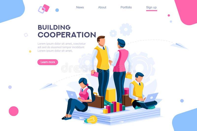 Χτίζοντας επιχείρηση σχεδίων συνεργασίας μηνυμάτων ελεύθερη απεικόνιση δικαιώματος