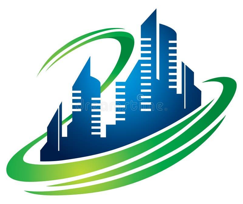 Χτίζοντας λογότυπο πόλεων ελεύθερη απεικόνιση δικαιώματος