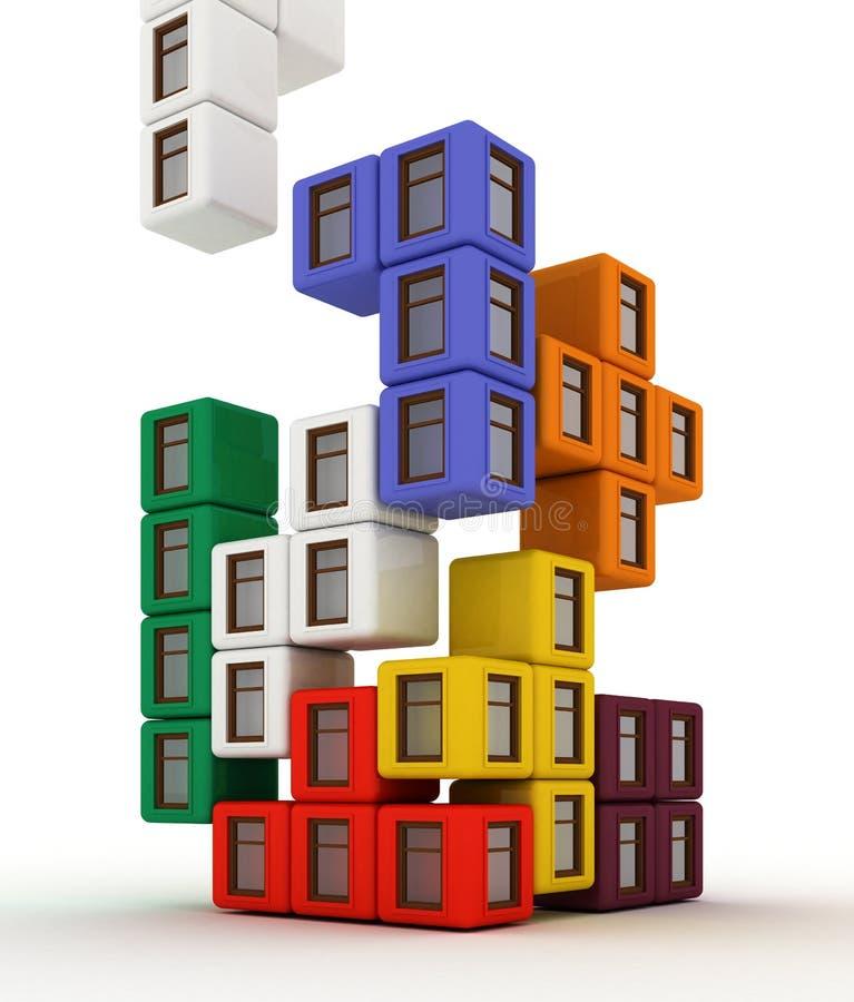 χτίζοντας σπίτια διανυσματική απεικόνιση