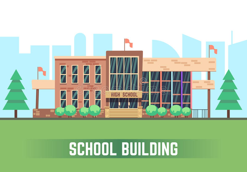 χτίζοντας συρμένο απομονωμένο χέρι σχολικό διανυσματικό λευκό Διανυσματική επίπεδη έννοια εκπαίδευσης απεικόνιση αποθεμάτων