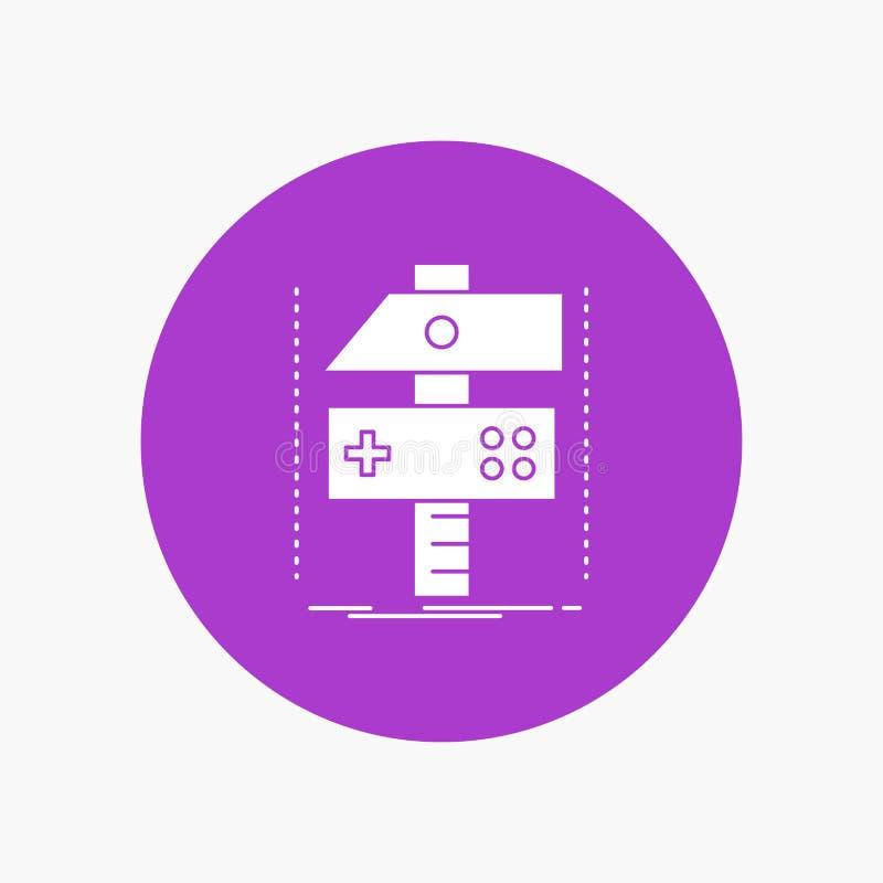Χτίστε, τέχνη, αναπτυχθείτε, υπεύθυνος για την ανάπτυξη, άσπρο εικονίδιο Glyph παιχνιδιών στον κύκλο Διανυσματική απεικόνιση κουμ απεικόνιση αποθεμάτων