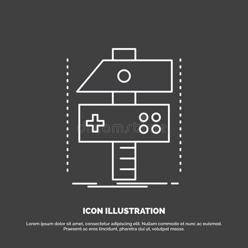 Χτίστε, τέχνη, αναπτυχθείτε, υπεύθυνος για την ανάπτυξη, εικονίδιο παιχνιδιών Διανυσματικό σύμβολο γραμμών για UI και UX, τον ιστ απεικόνιση αποθεμάτων
