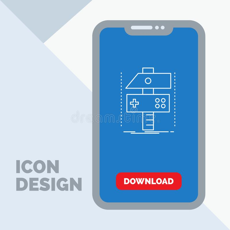 Χτίστε, τέχνη, αναπτυχθείτε, υπεύθυνος για την ανάπτυξη, εικονίδιο γραμμών παιχνιδιών σε κινητό για Download τη σελίδα ελεύθερη απεικόνιση δικαιώματος