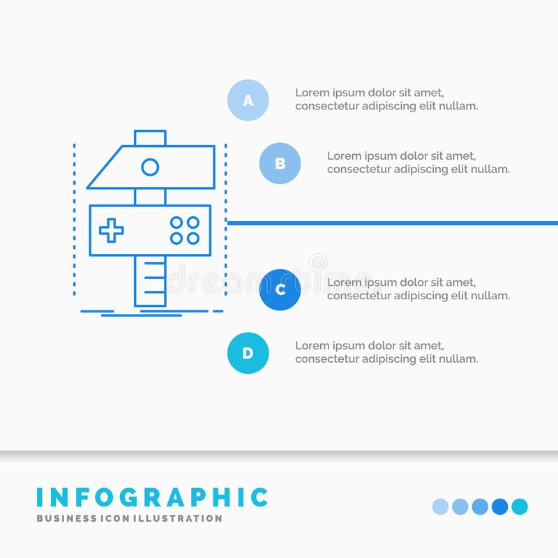 Χτίστε, τέχνη, αναπτυχθείτε, υπεύθυνος για την ανάπτυξη, πρότυπο Infographics παιχνιδιών για τον ιστοχώρο και παρουσίαση Γραμμών  ελεύθερη απεικόνιση δικαιώματος