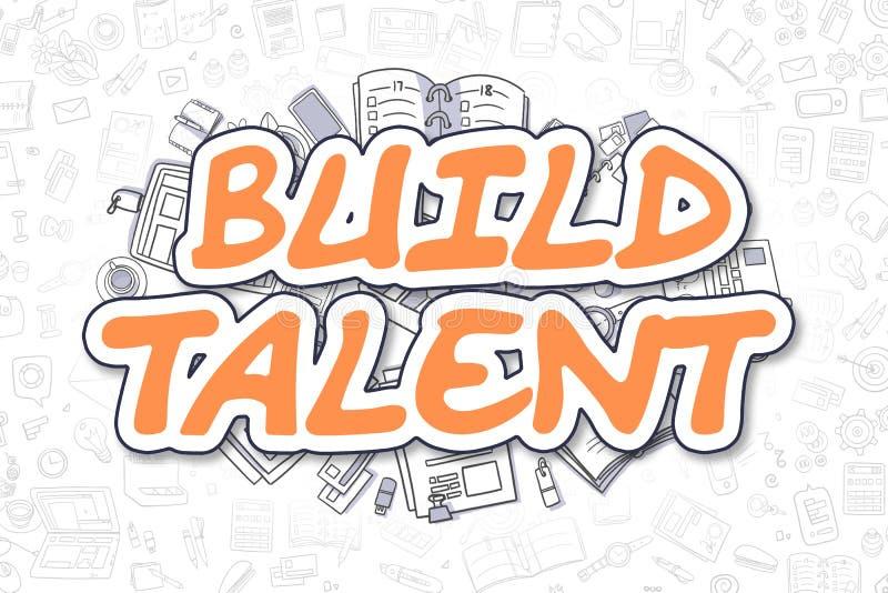 Χτίστε το ταλέντο - Doodle το πορτοκαλί Word χρυσή ιδιοκτησία βασικών πλήκτρων επιχειρησιακής έννοιας που φθάνει στον ουρανό ελεύθερη απεικόνιση δικαιώματος