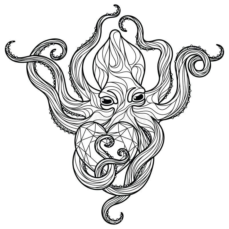 Χταπόδι Zentangle στοκ φωτογραφία