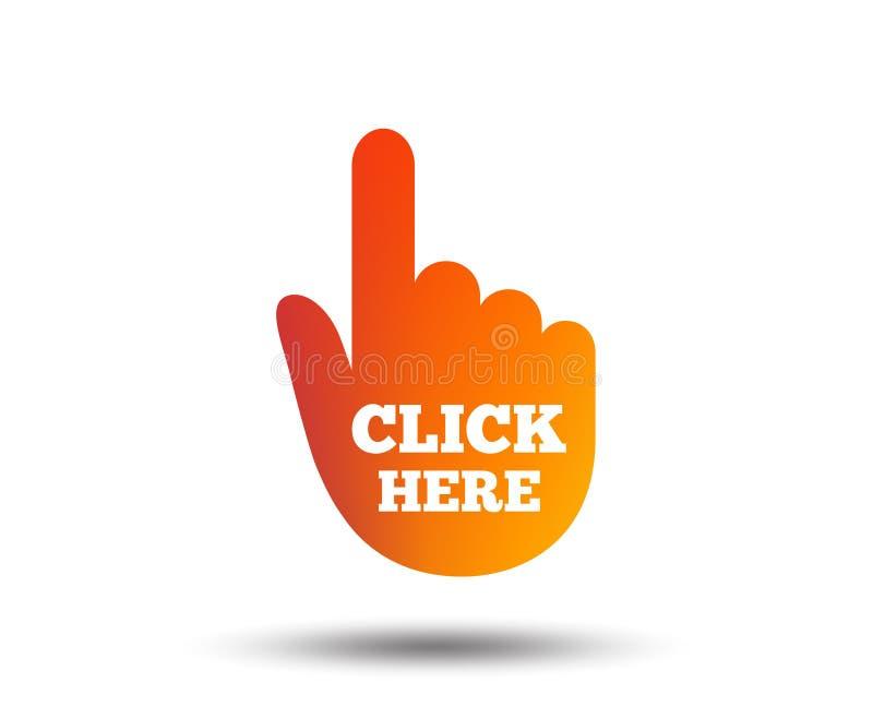 Χτυπήστε εδώ το εικονίδιο σημαδιών χεριών Πιέστε το κουμπί ελεύθερη απεικόνιση δικαιώματος
