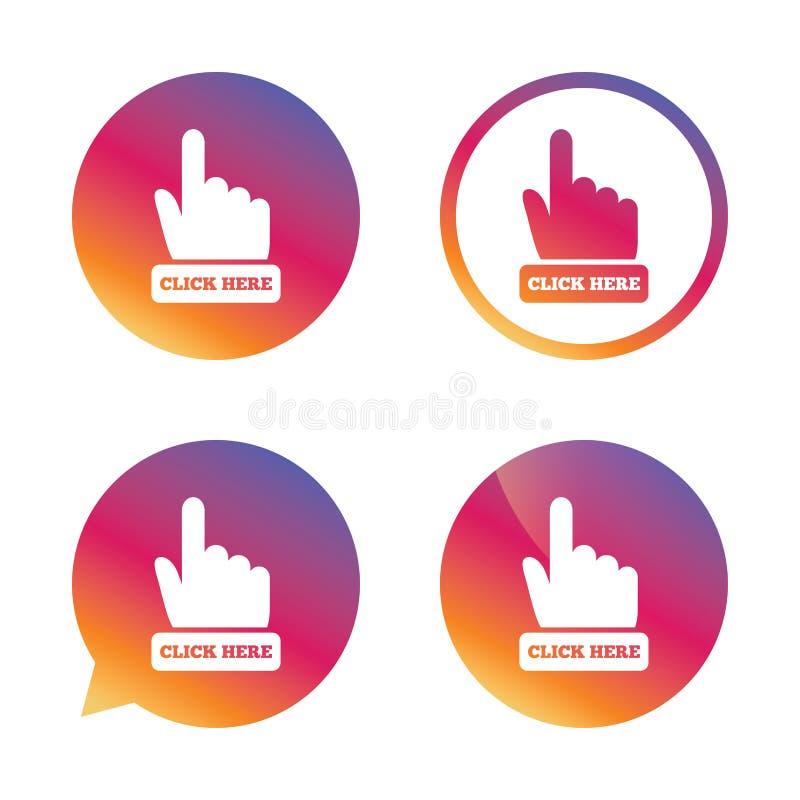 Χτυπήστε εδώ το εικονίδιο σημαδιών χεριών Πιέστε το κουμπί διανυσματική απεικόνιση