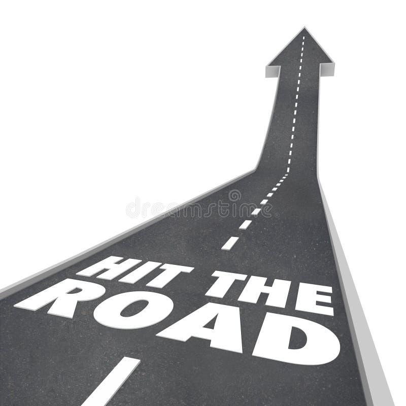 Χτυπήστε τη διακινούμενη αναχώρηση οδικής έναρξης στο ταξίδι μεταφορών διανυσματική απεικόνιση