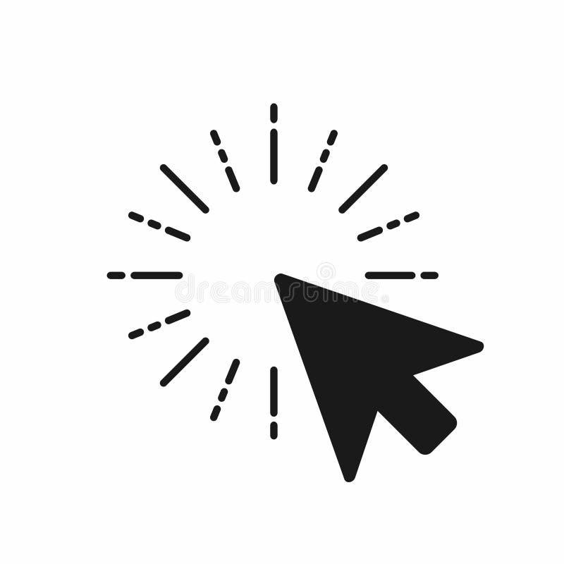 Χτυπήστε το εικονίδιο Ο δείκτης του ποντικιού υπολογιστών χτυπά με το βέλος ελεύθερη απεικόνιση δικαιώματος