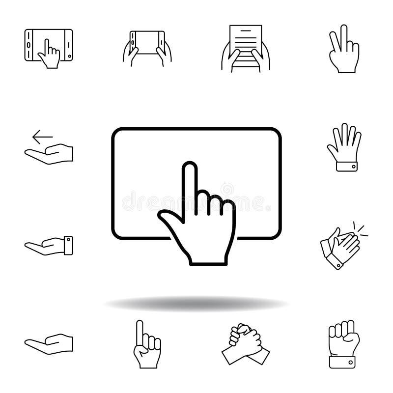 χτυπήστε touchpad το εικονίδιο περιλήψεων χειρονομίας αφής Σύνολο απεικόνισης χεριών gesturies r διανυσματική απεικόνιση