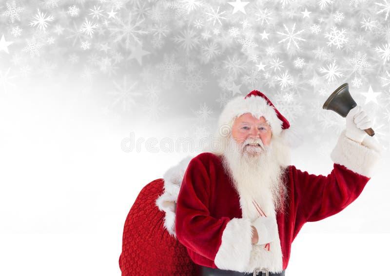 Χτυπώντας κουδούνι Santa με το σχέδιο Χριστουγέννων σάκων και Snowflake και το κενό διάστημα στοκ εικόνες με δικαίωμα ελεύθερης χρήσης