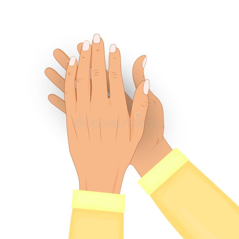 Χτυπώντας τα ανθρώπινα χέρια που απομονώνονται στο άσπρο υπόβαθρο Επιδοκιμασία, bravo Συγχαρητήρια, kudos, έννοια αναγνώρισης διά διανυσματική απεικόνιση