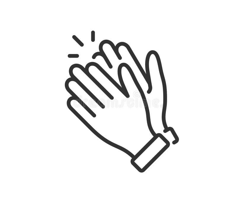 Χτύπημα του εικονιδίου χεριών Χειροκρότημα επιδοκιμασίας Σύμβολο στο ύφος περιλήψεων r διανυσματική απεικόνιση